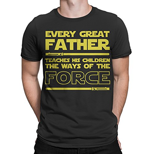 Muggies Men's Father's Day Gift T-Shirt For Dad Every Great Father Teaches His Children The Ways Of The Force. Funny & Unique Birthday, Christmas, Fathers Day Gifts For Men And Husband (2XL)