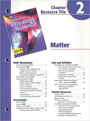 Holt Physical Science Chapter 2 Resource File: Matter: Holt ...