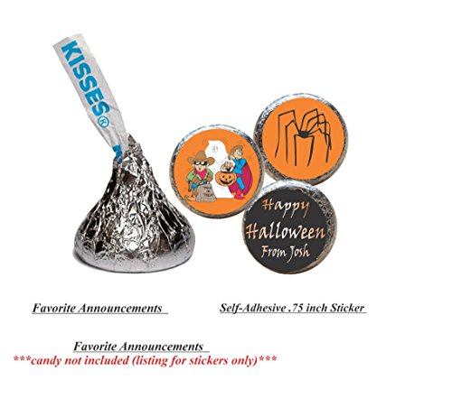 Halloween Stickers for the bottom of chocolate Kisses, Personalized (set of (Cheap Halloween Snack Ideas)
