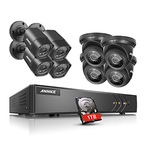 ANNKE 8CH 720P Security DVR System 1TB Hard Drive and (8) HD 1.0MP Outdoor Surveillance CCTV Cameras, IP66 Weatherproof Housing, Super Night Vision, Motion Detection