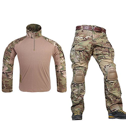 Men G3 Assault Combat Uniform Set with Knee Pads MultiCam Camouflage Tactical Airsoft Hunting Paintball Gear - Paint Airsoft Camo