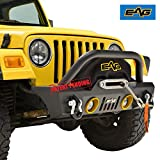EAG Front Bumper With LED Lights and Colored Light Surrounds Stubby for Fits 87-06 Jeep Wrangler TJ/YJ