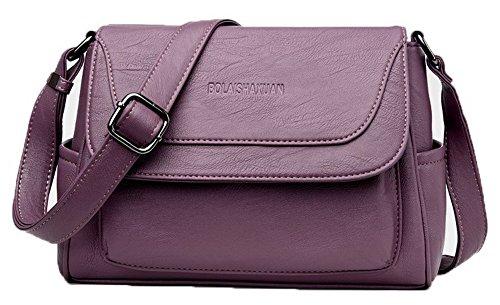 AllhqFashion Femme Mode Décontractée Zippers Pu Cuir Des sacs Sacs à bandoulière,FBUFBD180898 Violet