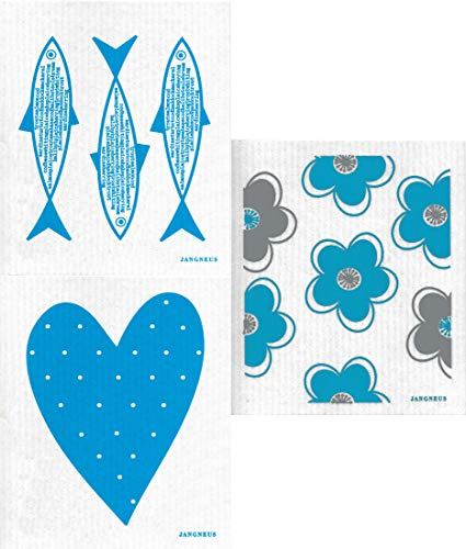 Jangneus Swedish Dishcloths/Sponge Cloths Eco-Friendly Natural Cleaning Cloths: Pack of 3 Turquoise Flowers/Heart/Fish