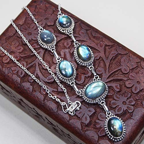 CZgem Genuine Labradorite Necklace 925 Sterling Silver Oval Shape Womens Fashion Necklace 18.5