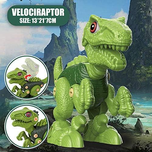 Vanplay Dinosaurios Juguetes con Taladro Eléctrico, Juego Construccion Puzzle Dinosaurios Incluyen Tiranosaurio Rex, Velociraptor y Triceratops para Niños y Niñas 3 Años: Amazon.es: Juguetes y juegos