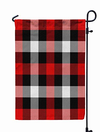Shorping Decorative Outdoor Garden Flag, 12x18Inch Christmas and New Year Tartan Plaid Scottish Pattern in Black red and wh for Holiday and Seasonal Double-Sided Printing Yards Flags -
