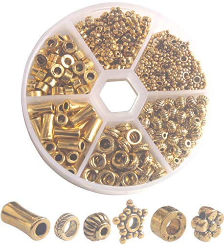 One Box of 300PCS Antiqued Gold Metal Tube Flower Circle Spacer Beads for Jewelry Making