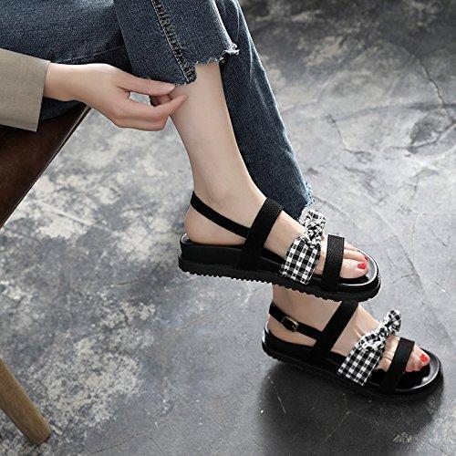 YMFIE Sandalias Planas de señora Summer Bow Toe Sandalias Antideslizantes de Moda, 35 UE 39 EU