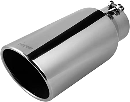 """Stainless Steel Bolt On Exhaust Tip 15/"""" Long Diesel 4/"""" Inlet 7/"""" Outlet Chrome"""