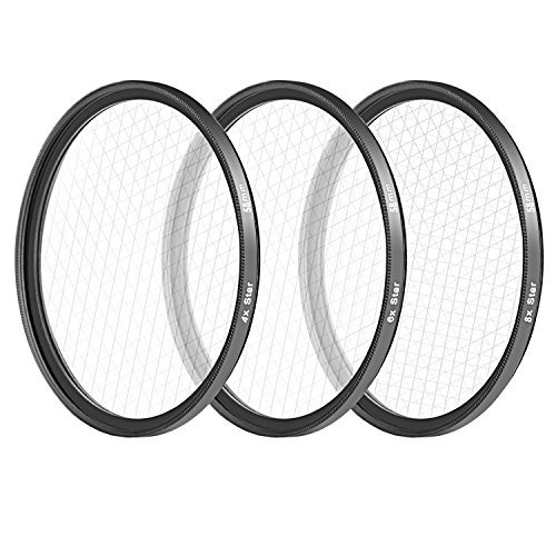 - Neewer 58MM 3 Pieces Points Star Lens Filters Kit for Canon EOS Rebel T6i T6 T5i T5 T4i T3i SL1 DSLR Camera, Includes 4 / 6 / 8 Points Star Filter, Made of HD Glass and Aluminum Frame Materia (Black)