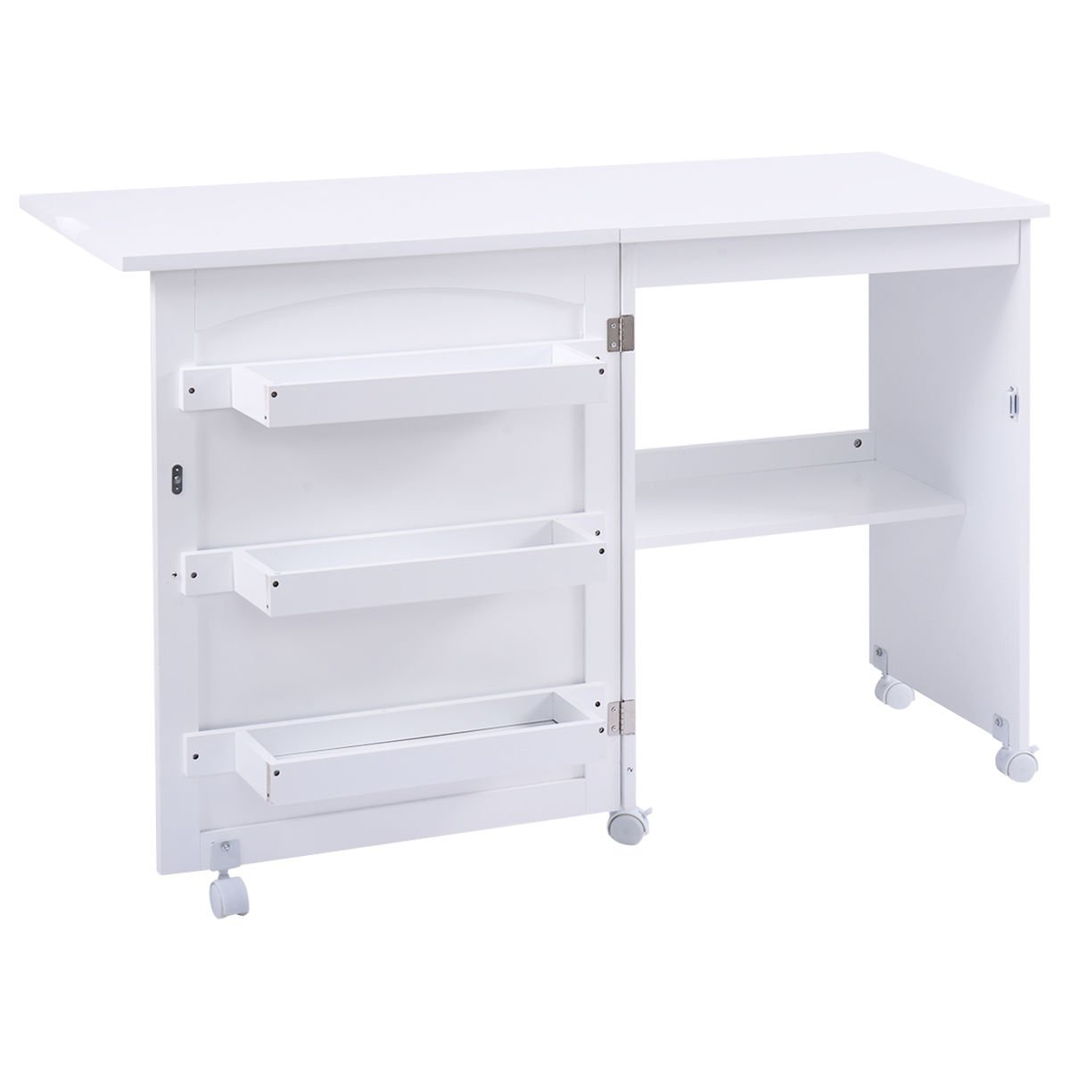 Amazon.com: Giantex White Folding Sewing Craft Cart Table Shelves Storage  Cabinet Home Furniture W/ Wheels