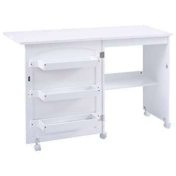 White Folding Swing Craft Table Shelves Storage Cabinet Home Furniture Wheels  sc 1 st  Amazon.com & Amazon.com: White Folding Swing Craft Table Shelves Storage Cabinet ...