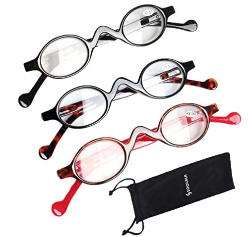 SOOLALA 3 Pairs Cute Small Round Plastic Spring Heeled Magnifying Reading Glasses, - Bifocal Best Reading Glasses