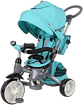 Sun Baby Triciclo Cochecito Chico Chica Little Tiger Ajustqable con Manija de Empuje, Cinturones, Bolsas y Canopy Turquesa Melange