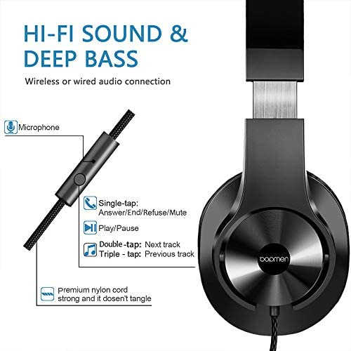 Bopmen T3 Wired Over Ear Headphones - Stereo Sound Headphones With Tangle Free Cord Bass Comfortable Headphones, Lightweight Portable For Smartphone Tablet Computer PC Laptop Notebook