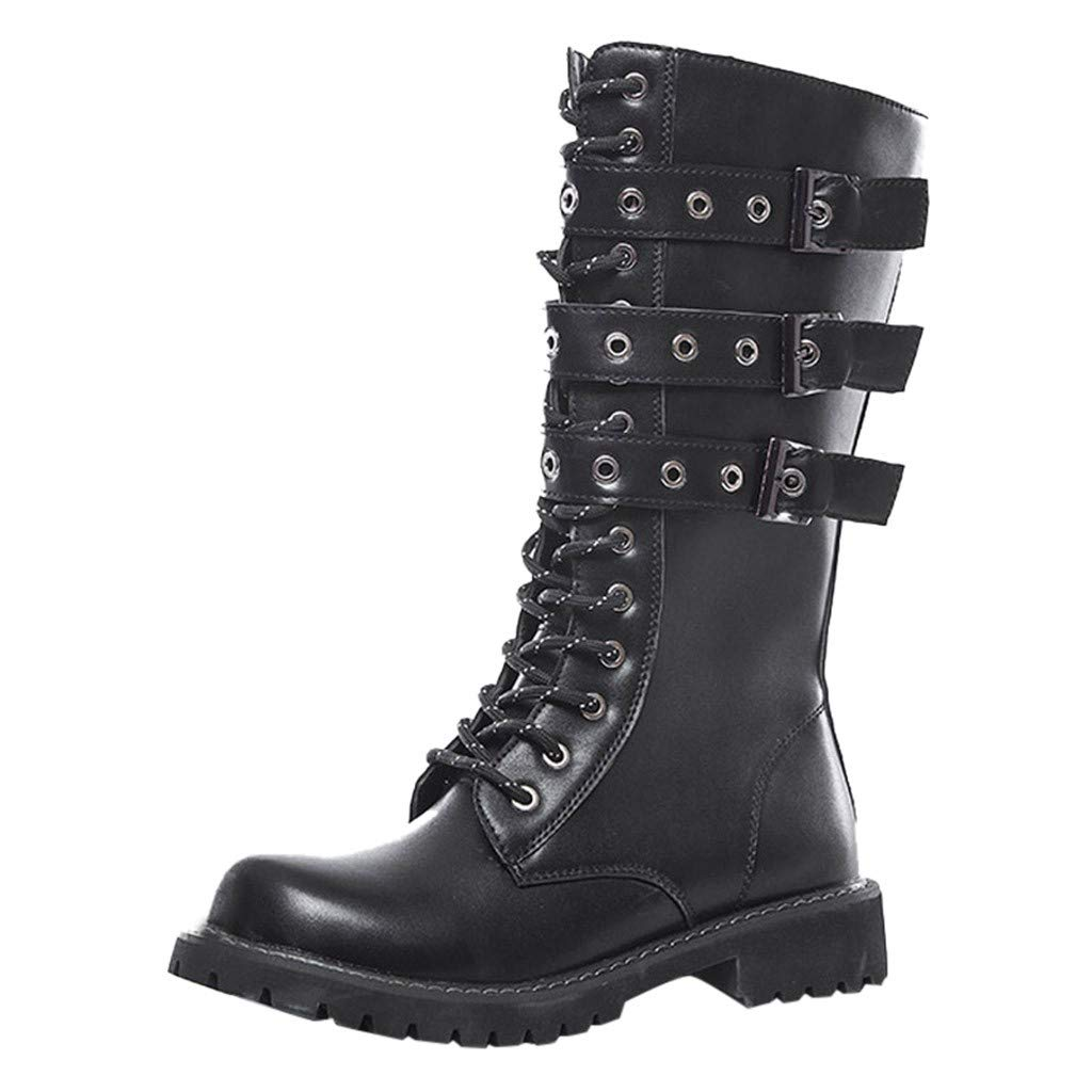 Fheaven Women's Studded Buckle Strap Combat Boots Outdoor Leather High Boots Lugged-Sole Winter Punk Snow Boots Black by Fheaven-shoes