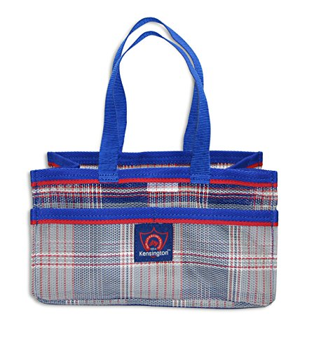 "Kensington Horse Grooming Tote Bag — Handy Upright Stow Away in Vibrant Plaid Designs — Very Durable with Lots of Storage Compartments — 12"" L x 7"" W x 7"" D"