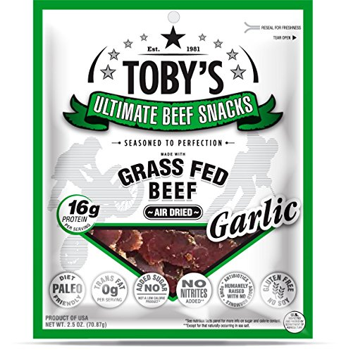 Toby's Grass Fed Beef Biltong / Jerky South African Style - Garlic - 2.5 oz