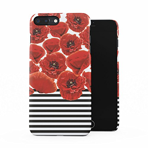 Black Case Dahlia (Red Poppy Blossoms Pattern Black, White Stripes Plastic Phone Snap On Back Case Cover Shell For iPhone 7 Plus & iPhone 8 Plus)