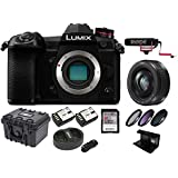 Panasonic LUMIX G9 Mirrorless Camera Body with H-H020AK 20mm LUMIX G II Lens, 128GB VideoMic Go Bundle