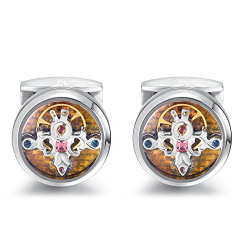 Dich Creat Mirror/Brushed Mixed Polishing rhodium Emboss Tourbillon Cufflinks/Yellow Carbon Fiber Inlay by Dich Creat