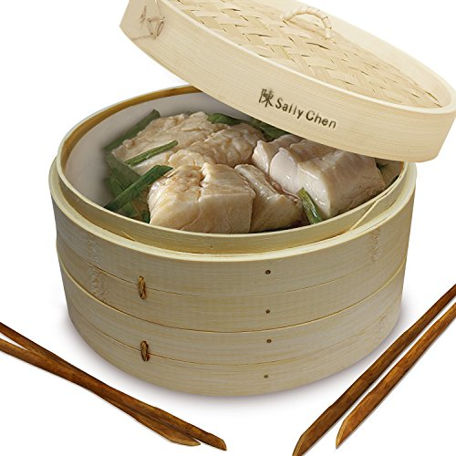 Bamboo Oriental Gyoza Steamer 10 Inch with BONUS two Pairs Chopsticks, Premium Chinese Food Steaming Basket, 2 Tier for Vegetables and More by Sally Chen (Wooden Washing Basket)
