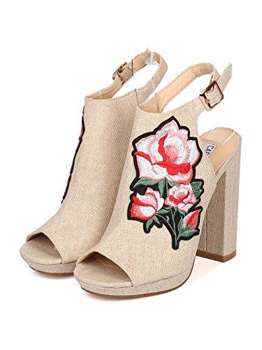 Women ROBBIN CAPE Embroidered Toe Mule HJ85 Peep Block Canvas Heel Denim Nude 15xdxAwU