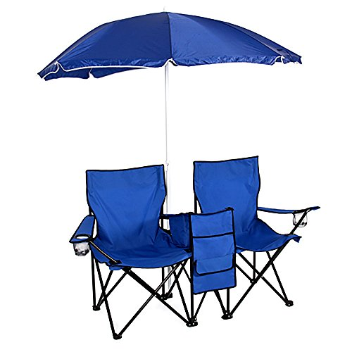 Crazyworld Double Folding Chairs With Removable Umbrella Table Cooler Bag Fold Up Steel Construction Dual Seat For Outdoor Patio Garden Picnic Lawn Beach Camping Fishing,Blue by Crazyworld