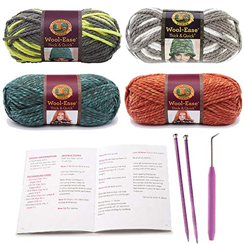 Thick and Quick Yarn (4 Colors) Bulky Acrylic Starter Kit Bundle with Tutorial, Knitting Needles and Loom Hook ()