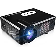 Projector, EarMe CL720 3000 Lumens 1280 x 800 Pixels Portable Mini Home Theater Video Projector, Support 1080P HD with 5.0 Inch LCD Display Support HDMI USB SD AV VGA TV Interface