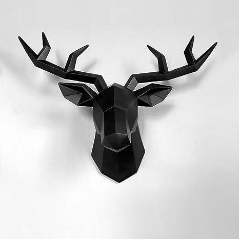 Amazon Com Wayerty 3d Deer Statues Wall Sculptures Home Decor Accessories Figurines Hanging Modern Room Decorations Animal Resin Sculptures Black 34x28x14cm 13x11x6inch Home Kitchen