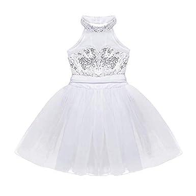 7c545a6951f FEESHOW Enfant 4-12 Ans Fille Justaucorps de Danse Classique Ballet Salsa  Tutu Paillettés Robe