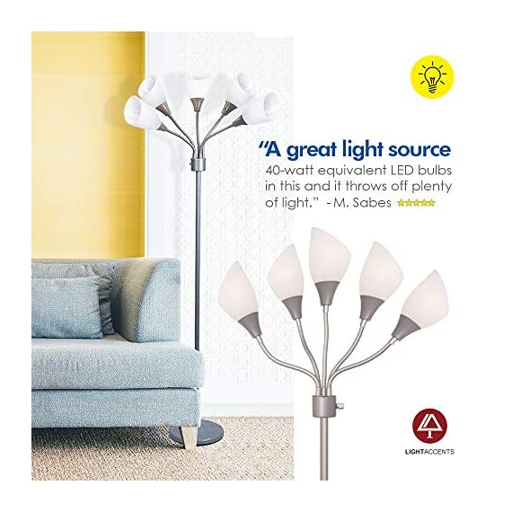 Modern Floor Lamp Room Light by Lightaccents - Medusa Multi Head Standing Lamp Bedroom Light with 5 Positionable White Acrylic Reading Shades Room Light (Grey) - GOOSENECK FLOOR LAMP WITH WHITE ACRYLIC SHADES: Made from durable metal with a painted Grey finish, this floor lamp features white shades offering a modern style. PERFECT FOR USE AS A LIVING ROOM FLOOR LAMP, KID'S ROOM FLOOR LAMP, OR DORM ROOM ADJUSTABLE FLOOR LAMP: The white shades give this floor lamp a unique look and make it perfect for use in any kid's room, living space, or dorm room. FLEXIBLE FLOOR LAMP, KID'S ROOM FLOOR LAMP, OR DORM ROOM FLOOR LAMP: The multicolored shades give this floor lamp a unique look and make it perfect for use in any kid's room, living space, or dorm room.ADJUSTABLE GOOSENECK - living-room-decor, living-room, floor-lamps - 51ST7jOtucL. SS570  -