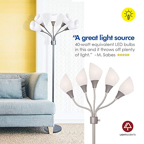 Light Accents Medusa Grey Floor Lamp with White Acrylic Shades by LIGHTACCENTS (Image #5)