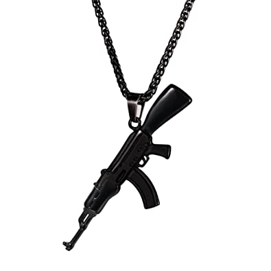 U7 cool black ak47 assault rifle gun pendant necklace army style u7 cool black ak47 assault rifle gun pendant necklace army style jewelry mozeypictures Images