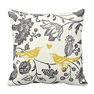 CottonHouse Trendy Yellow Gray Vintage Floral Bird Pattern Throw Pillowcases 18inches Two Sides