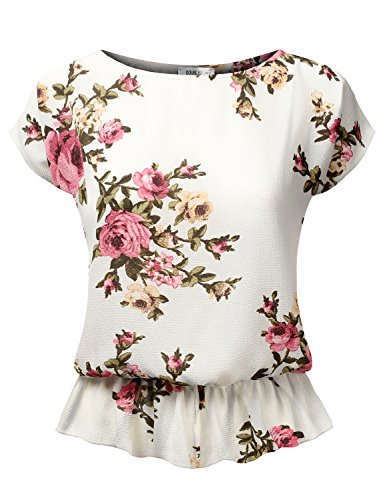 Doublju Short Sleeve Loose Fit Crepe Peplum Blouse For Women With Plus Size (Made In USA) IVORYPINK Large