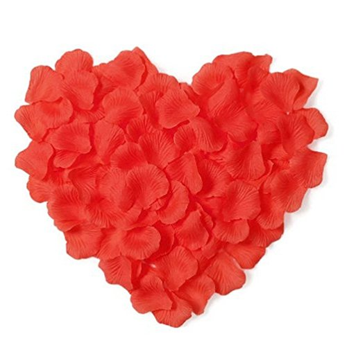 BOSHENG 1000pcs Silk Rose Petals Artificial Flower Wedding Party Vase Decor Bridal Shower Favor Centerpieces ConfettiRed Coral Silk Rose Petals