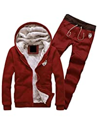 pipigo Mens 2 Piece Casual Sportwear Jacket Coat Pants Fleece Tracksuit Set