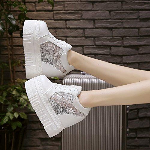Fondo Grueso de black Salvaje Bollo Gasa Casual Zapatos y Transpirable AJUNR Sandalias Elegante Verano Calzado Alta Interior Moda Primavera qH7BPOw