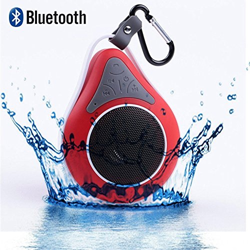 Crazy Genie Portable IPX6 Dustproof Waterproof Floating Wireless Bluetooth Speaker Shower Car Traveling Handsfree Receive Call & Music Suction Phone Mic, Water Droplet Design, Rechargeable, High Performance, Sound Quality Stability, Stereo Audio, Enhanced Bass, Built-in Microphone, Hands-free, 6Hrs Playback Time for All Bluetooth Devices - Smart-phones, Tablets, Laptops, PCs, MP3 Players, etc. (Red)