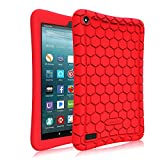 7 inc tablet cover - Fintie Silicone Case for All-New Amazon Fire 7 Tablet (7th Generation, 2017 Release) - [Honey Comb Upgraded Version] [Kids Friendly] Light Weight [Anti Slip] Shock Proof Protective Cover, Red