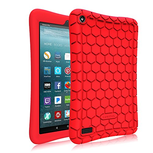 Fintie-Silicone-Case-for-All-New-Amazon-Fire-7-Tablet-7th-Generation-2017-Release---Honey-Comb-Upgraded-Version-Kids-Friendly-Light-Weight-Anti-Slip-Shock-Proof-Protective-Cover-Red