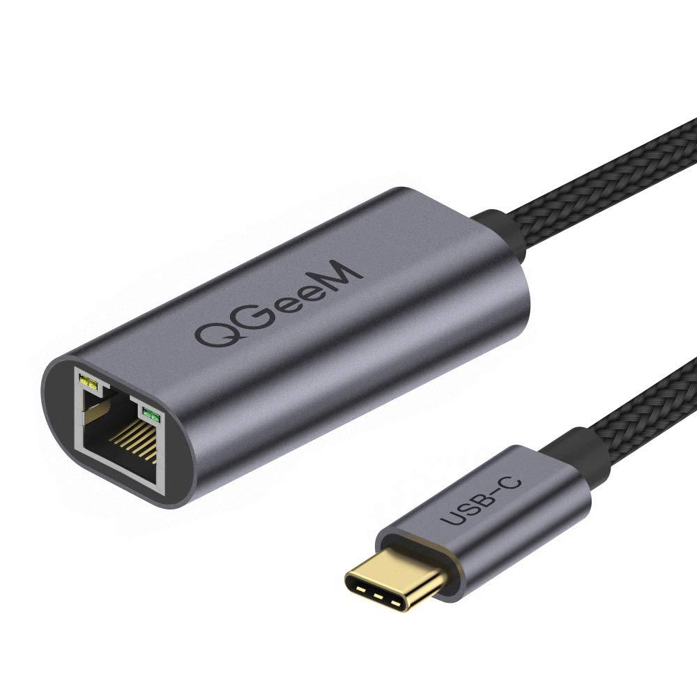 QGeeM - Adaptador USB C a Ethernet, tipo C Gigabit Ethernet, adaptador de Thunderbolt 3 a RJ45, adaptador de LAN compatible con MacBook Pro, RJ45 a adaptador USB C