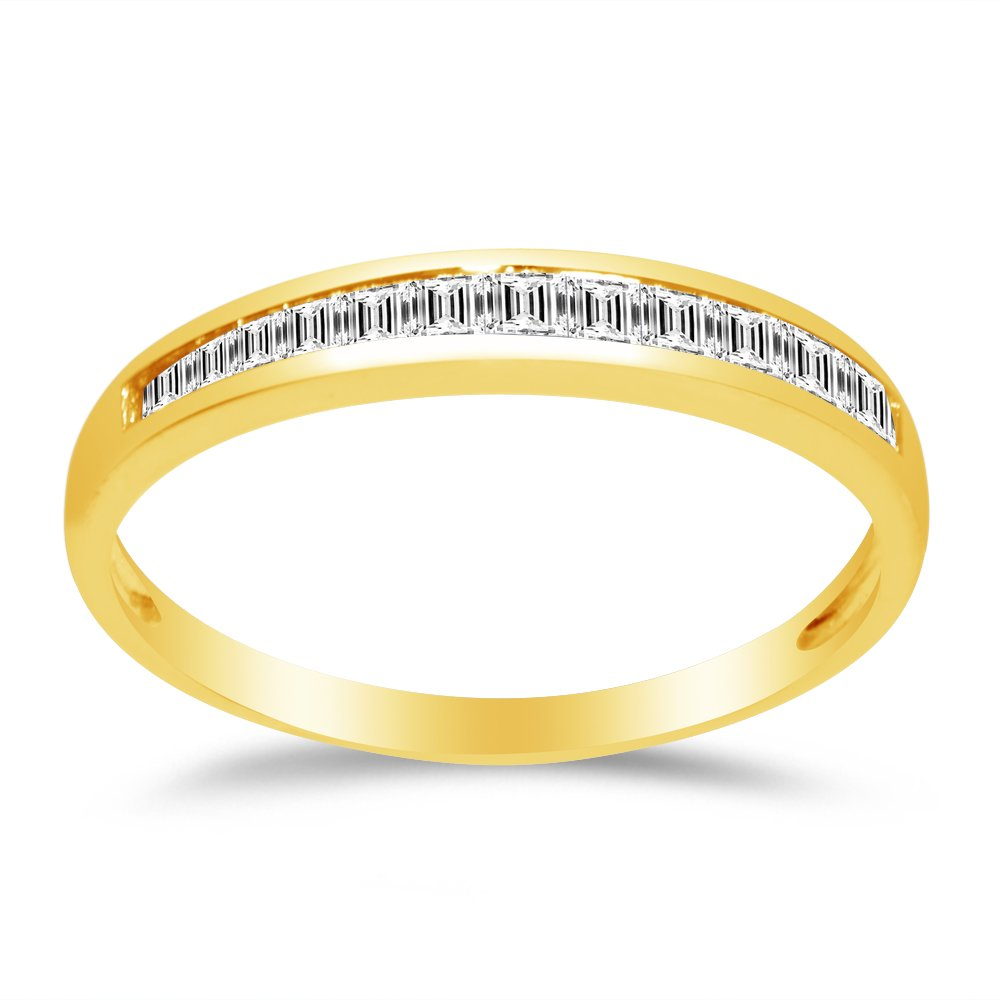 Size - 5.5 - Solid 14k Yellow Gold 2.5mm Baguette Cut Channel Invisible Set Anniversary Ring Wedding Band CZ Cubic Zirconia 1/2 cttw.