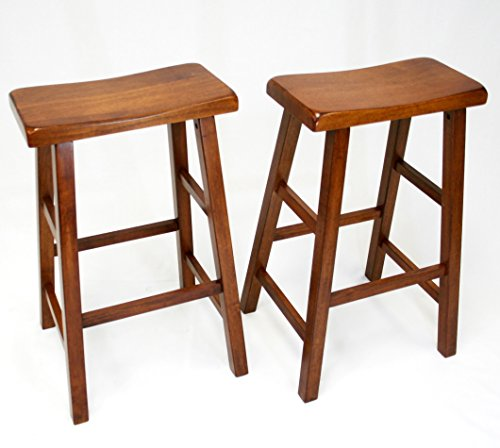 29 Inch Saddle Seat Wood (eHemco Set of 2 Heavy Duty Saddle Seat Bar Stools Counter Stools - 29