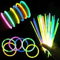 "Glow Sticks 8"" Light up Non Toxic Waterproof Bracelets - 100 Pack"