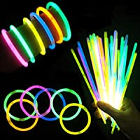 "Glow Sticks 8"" Light up Non Toxic Waterproof Bracelets - 50 Pack"