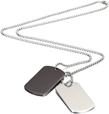 collier plaque acier homme